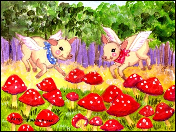 """""""Yes! Pigs Fly"""" original fine art by Patricia Ann Rizzo"""