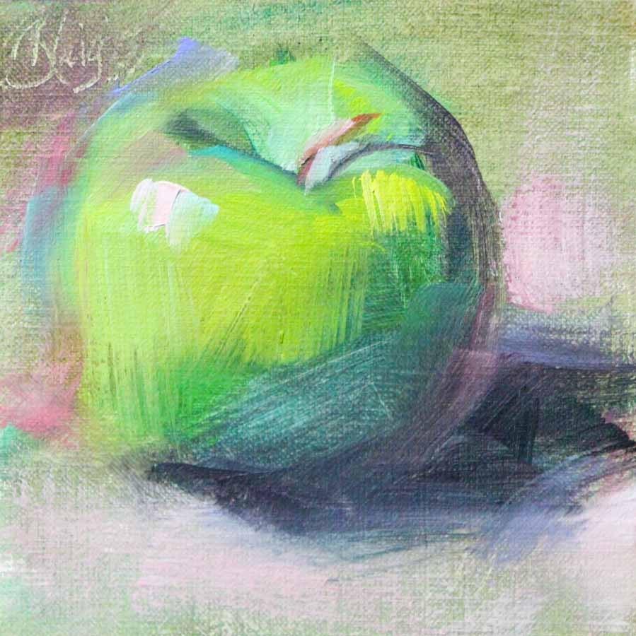 """""""Green Apple"""" original fine art by Pamela Blaies"""