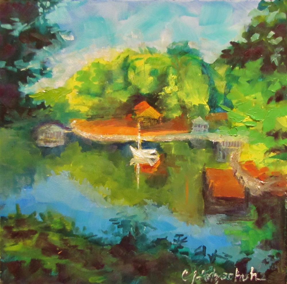 """""""View from the Lake House oil 6x6"""" original fine art by Christine Holzschuh"""