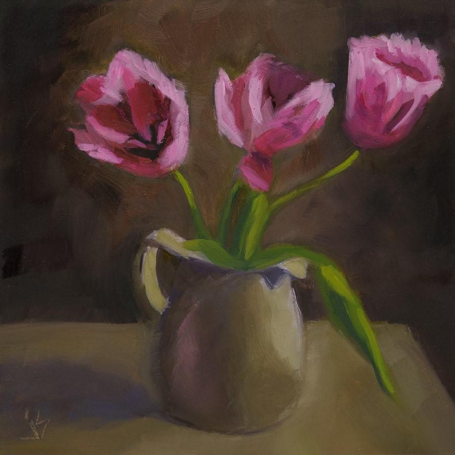 """""""Pink Tulips"""" original fine art by Johnna Schelling"""