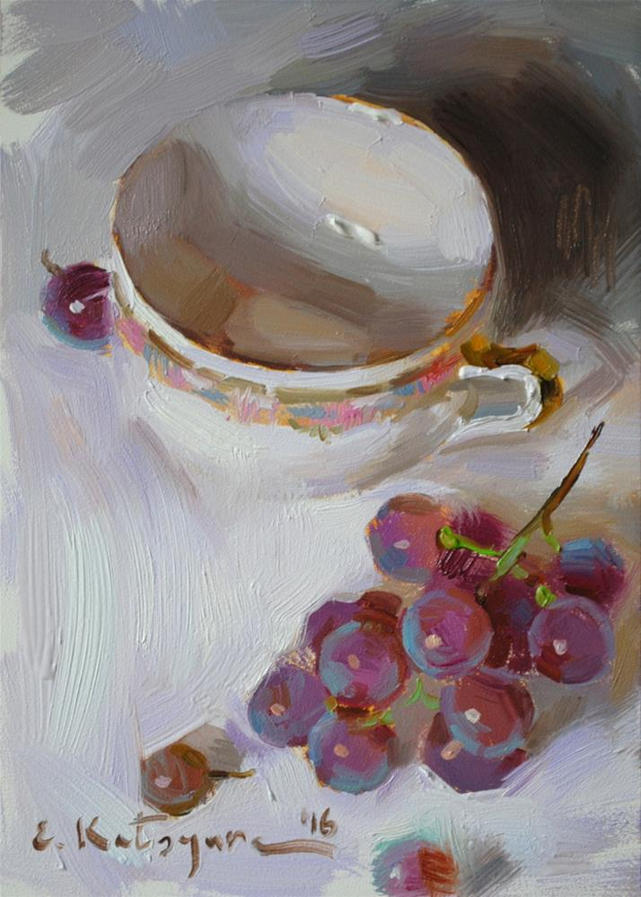 """Grapes on White"" original fine art by Elena Katsyura"
