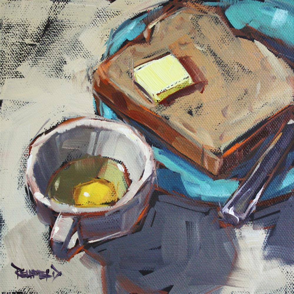 """Cooking Breakfast"" original fine art by Cathleen Rehfeld"