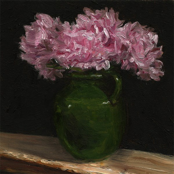 """Peonies with green vase"" original fine art by Peter J Sandford"
