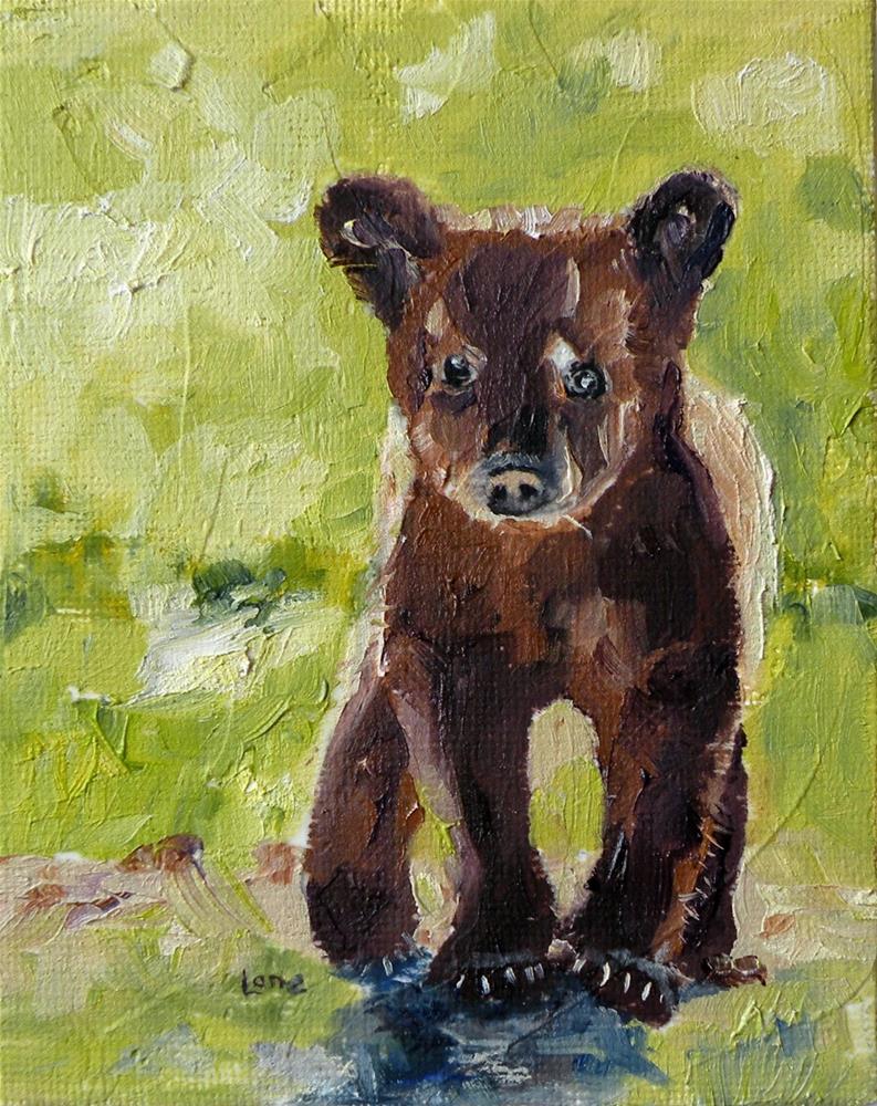 """LITTLE B A BEAR ORIGINAL 5X4 OIL ON CANVAS PANEL FOR ETSY © SAUNDRA LANE GALLOWAY"" original fine art by Saundra Lane Galloway"