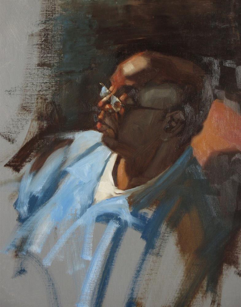 """""""Lavaski in Blue  18 x 14  oil"""" original fine art by Claudia Hammer"""