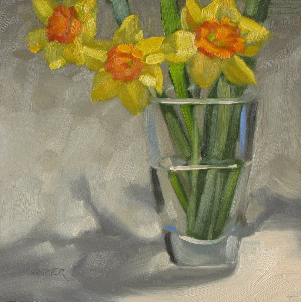 """Daffodils... again!  6x6 oil"" original fine art by Claudia Hammer"