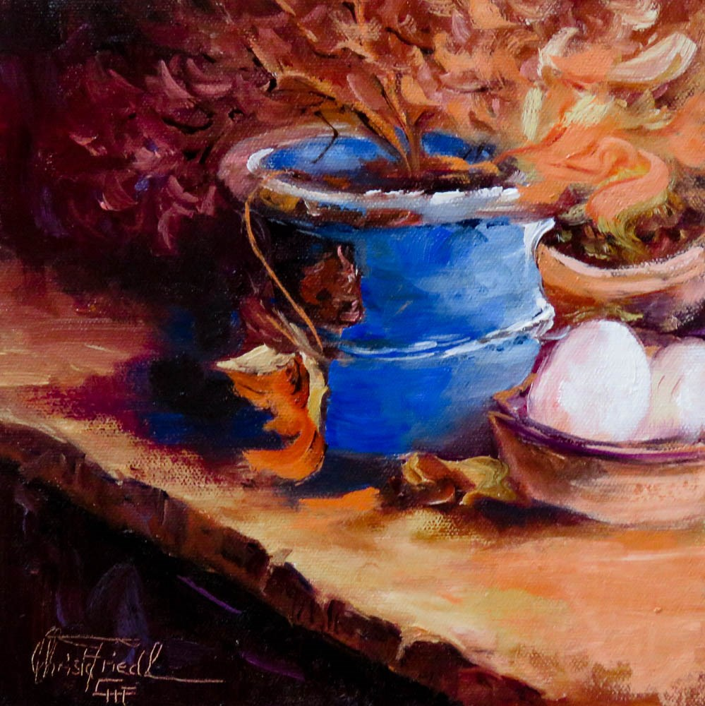 """The Blue Flowerpot"" original fine art by Christa Friedl"
