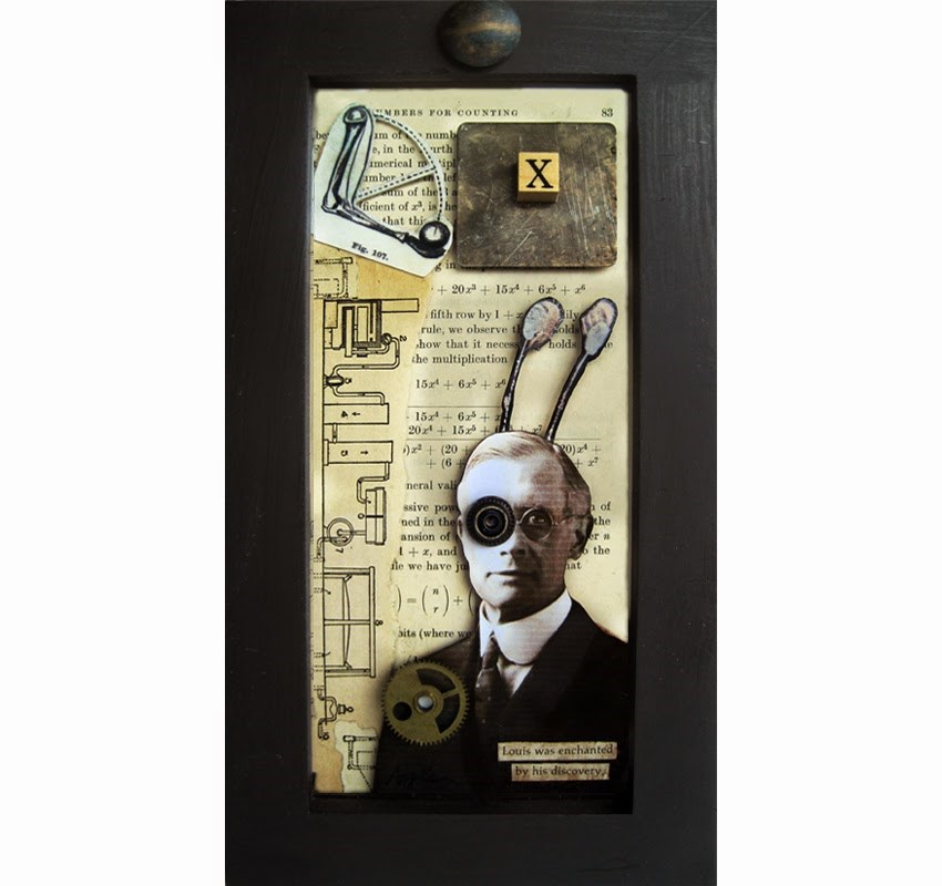 """Inventor assemblage mixed media collage shadow box original art"" original fine art by Linda Apple"