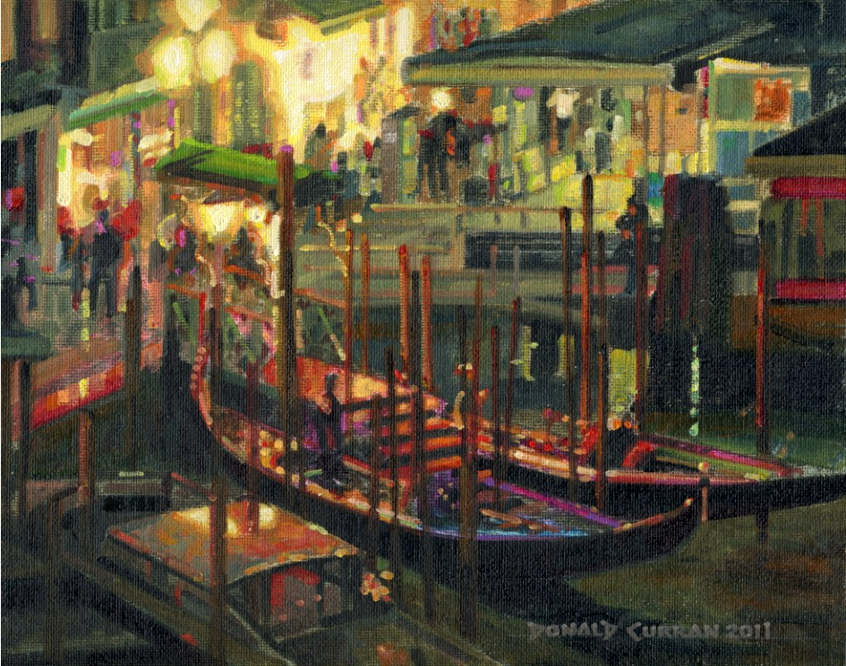 """Venice, Italy at Night"" original fine art by Donald Curran"