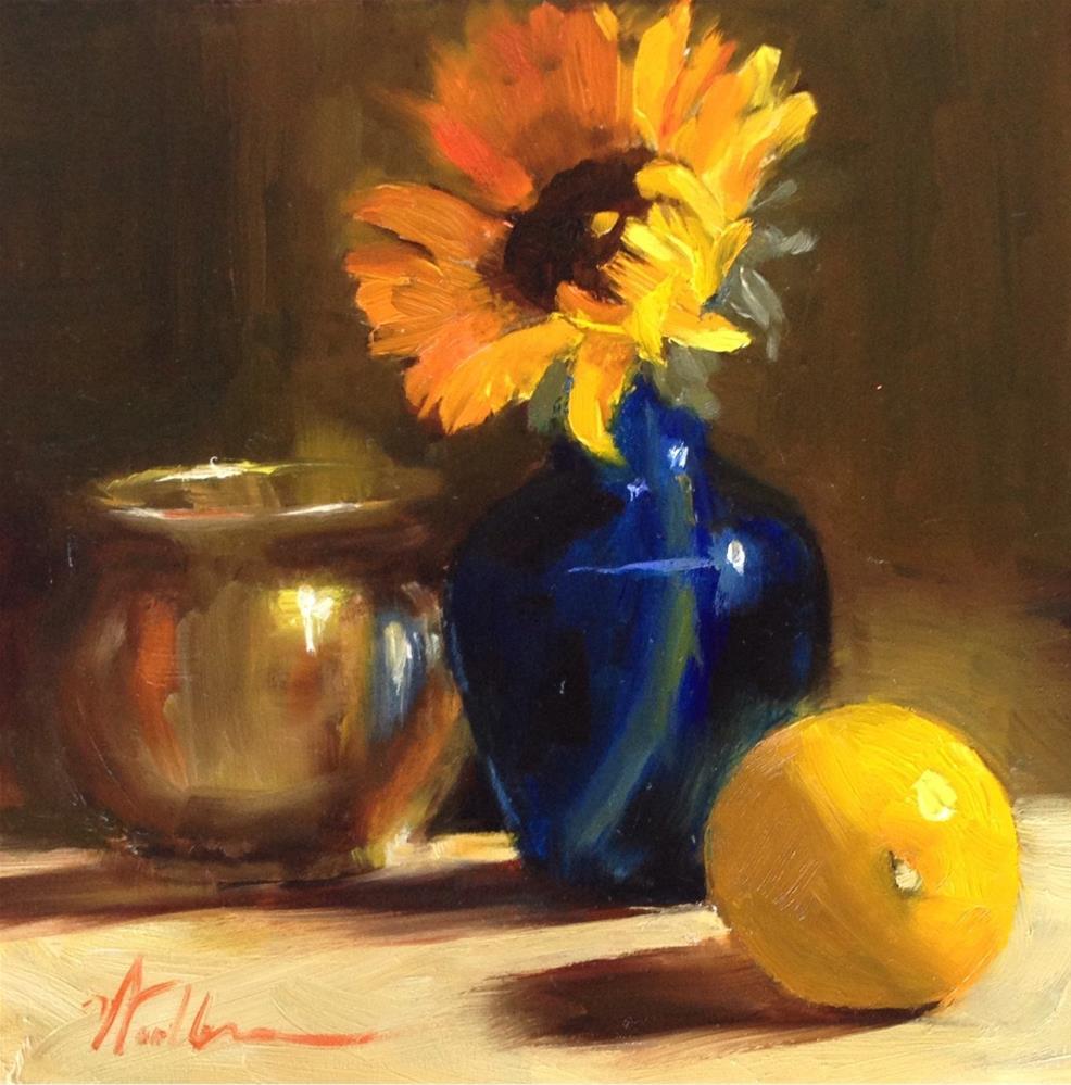 """Sunflower and Blue Vase"" original fine art by Dorothy Woolbright"