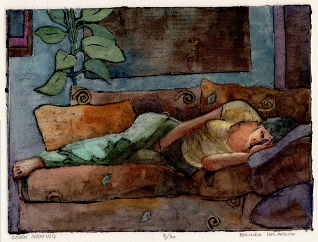 """""""Collograph: Couch Napping (& the Valencia Fine Art Festival this weekend)"""" original fine art by Belinda Del Pesco"""