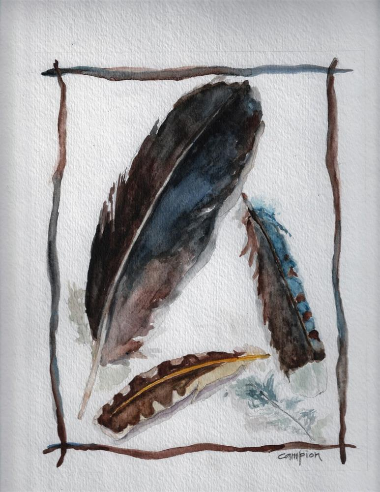 """""""371 More Feathers"""" original fine art by Diane Campion"""