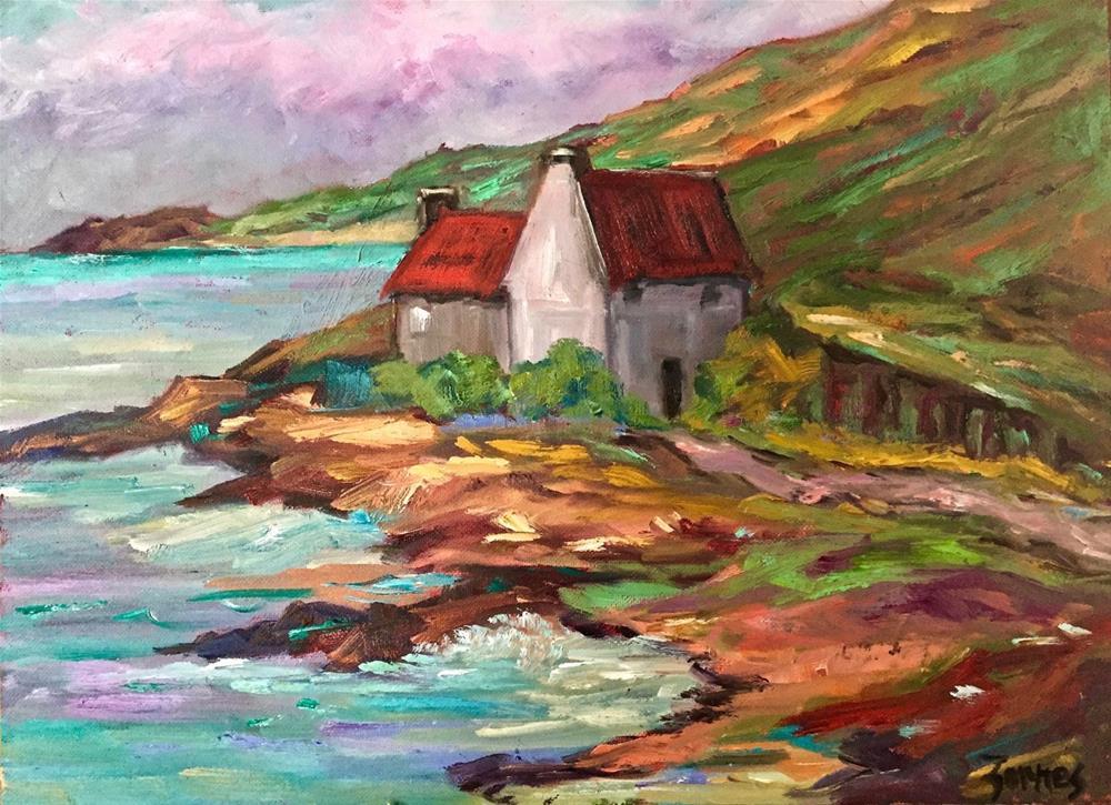 """""""Cottages by the Loch"""" original fine art by Liz Zornes"""