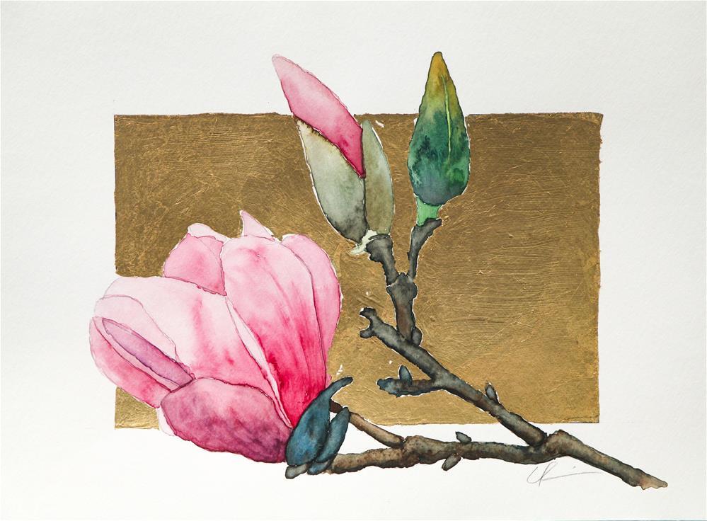 """Saucer Magnolia on Gold"" original fine art by Clair Hartmann"