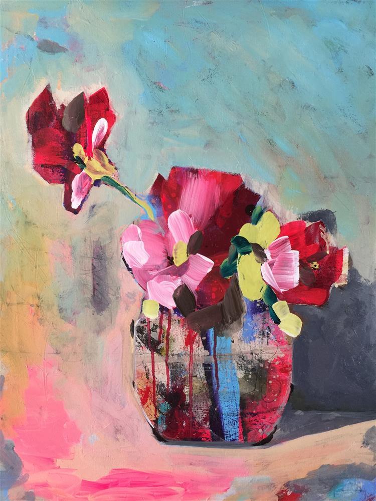 """Roses in Jar"" original fine art by Jenny Doh"