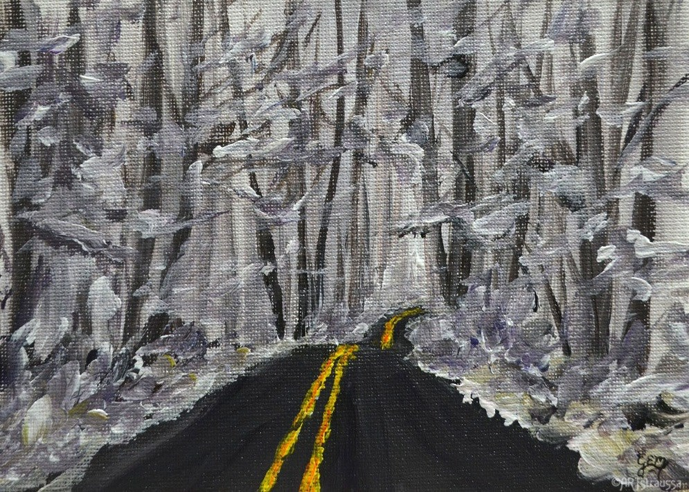 """SALE!!! Snowy Woodland Street"" original fine art by Gloria Ester"