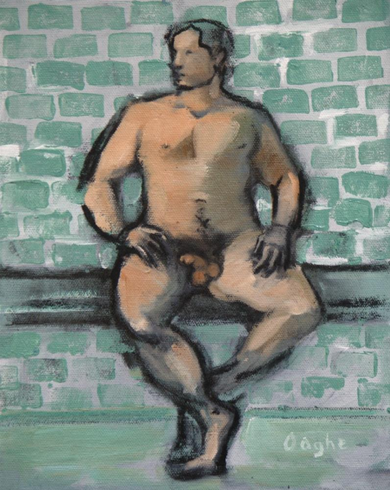 """Male Nude on Green tile"" original fine art by Angela Ooghe"