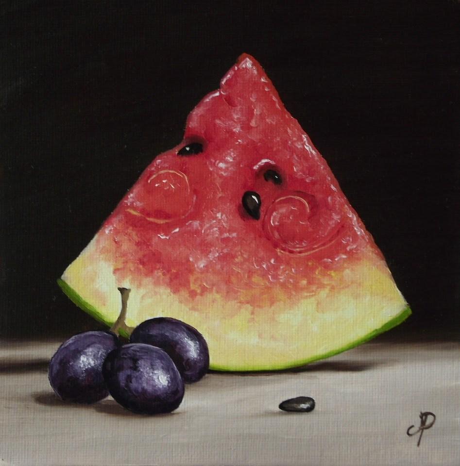 """Watermelon with grapes #3"" original fine art by Jane Palmer"