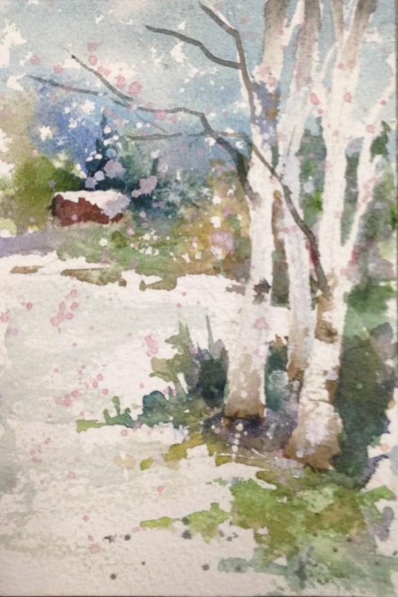 """Woodland Home"" original fine art by Sue Dion"
