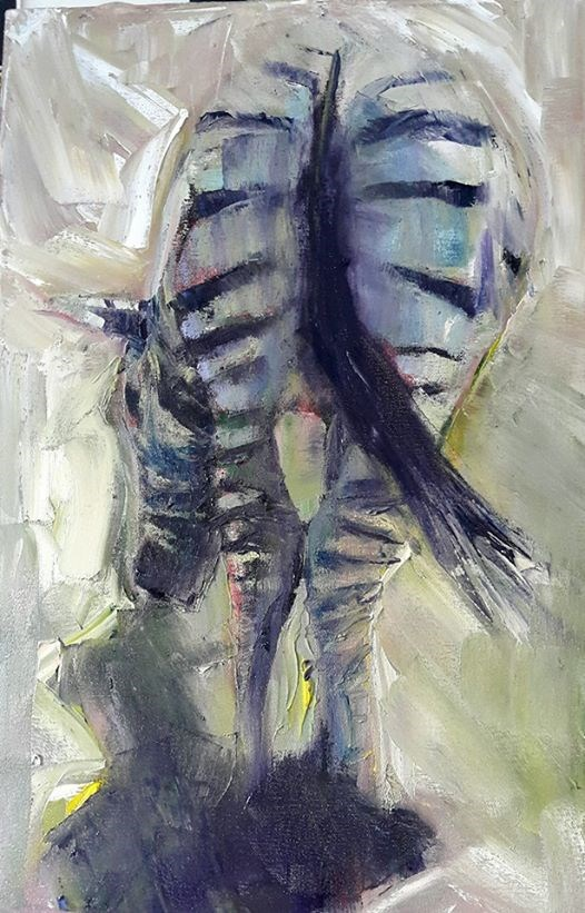 """Little Switzerland Zebra"" original fine art by Rentia Coetzee"