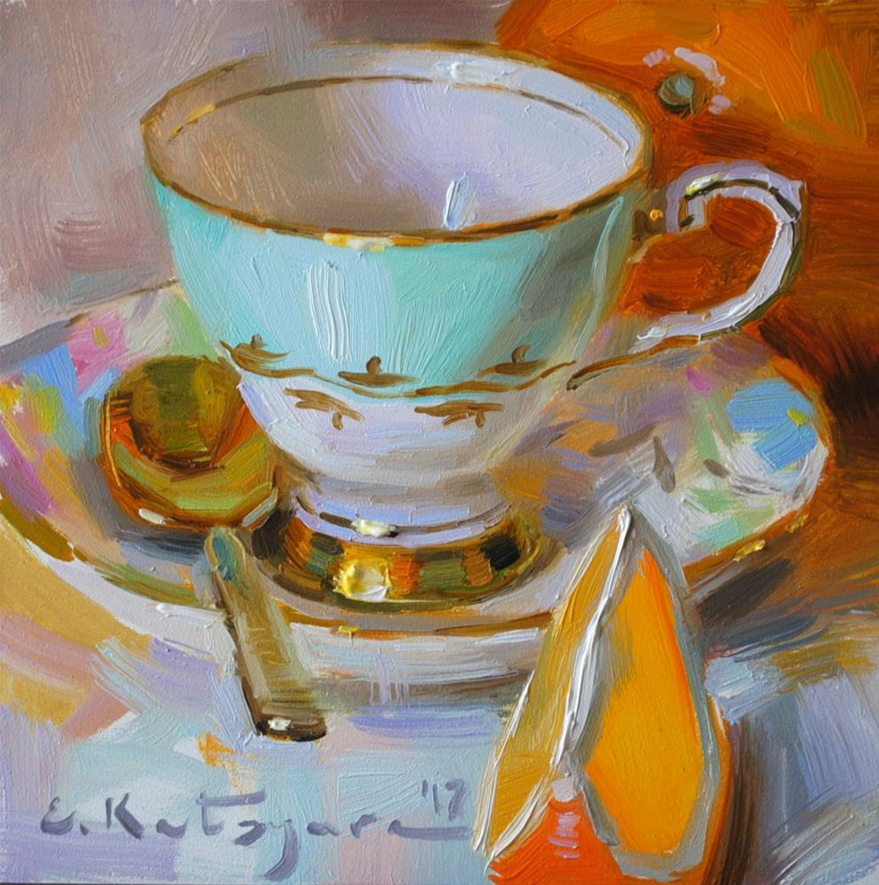 """Teacup and Oranges"" original fine art by Elena Katsyura"
