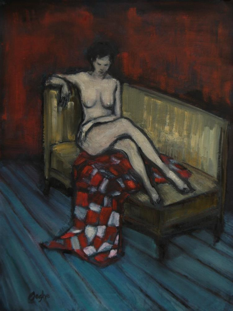 """""""Nude on Gold Couch"""" original fine art by Angela Ooghe"""