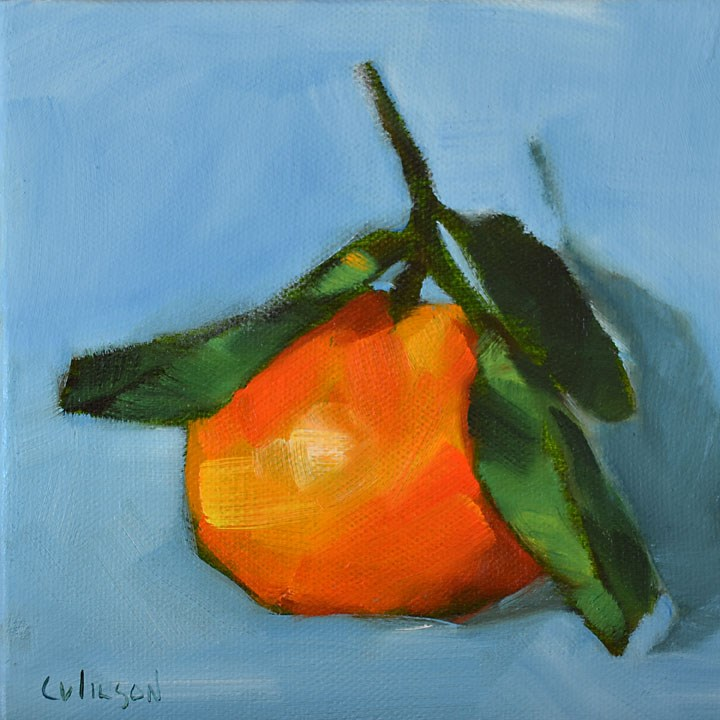 """Mandarin on Blue"" original fine art by Cheryl Wilson"