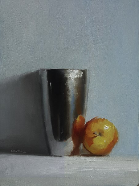 """Cup and Apple"" original fine art by Neil Carroll"