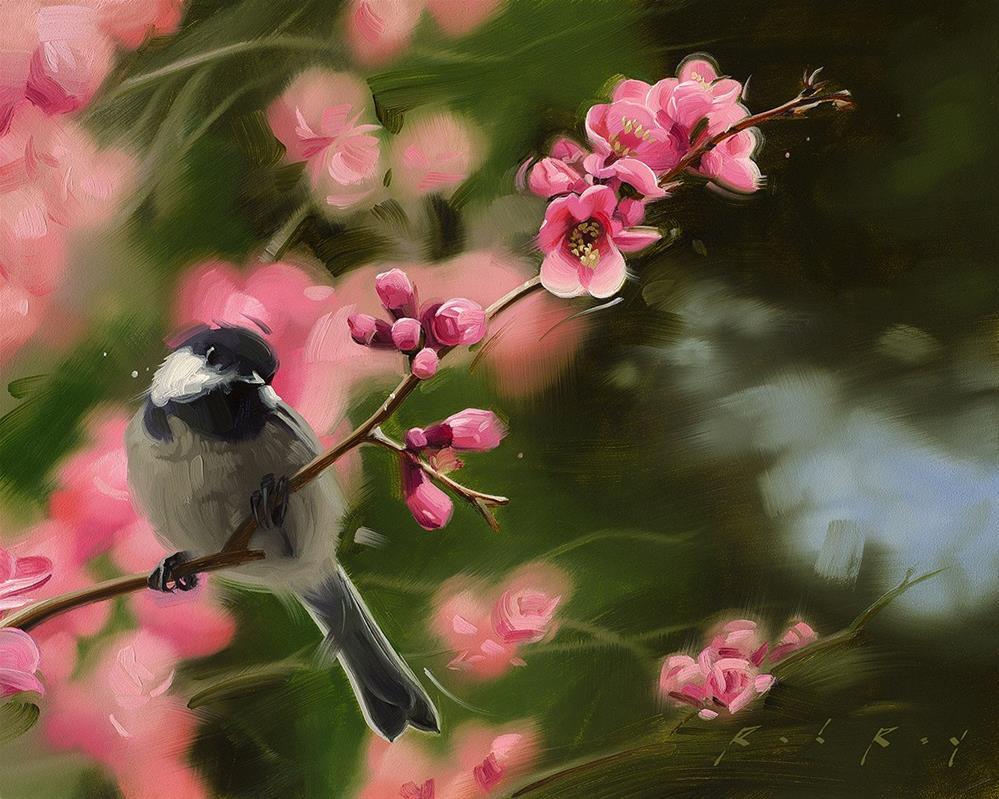 """Chickadee in Spring"" original fine art by Rob  Rey"