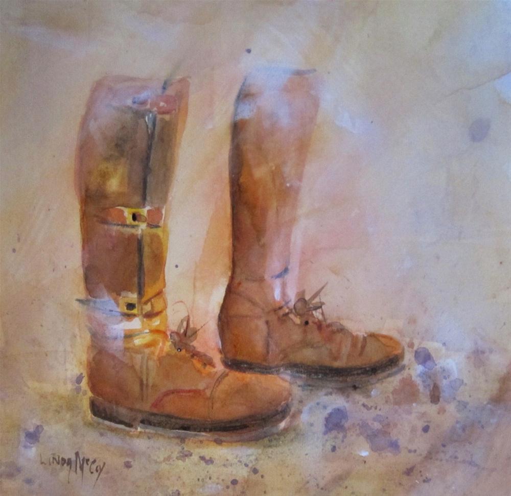 """WW1 Army Boots, Officer"" original fine art by Linda McCoy"