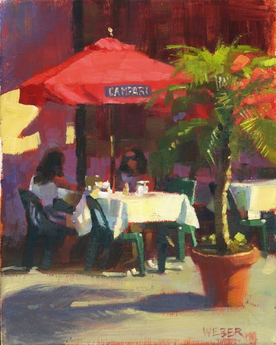"""Sidewalk Tables"" original fine art by Kathy Weber"