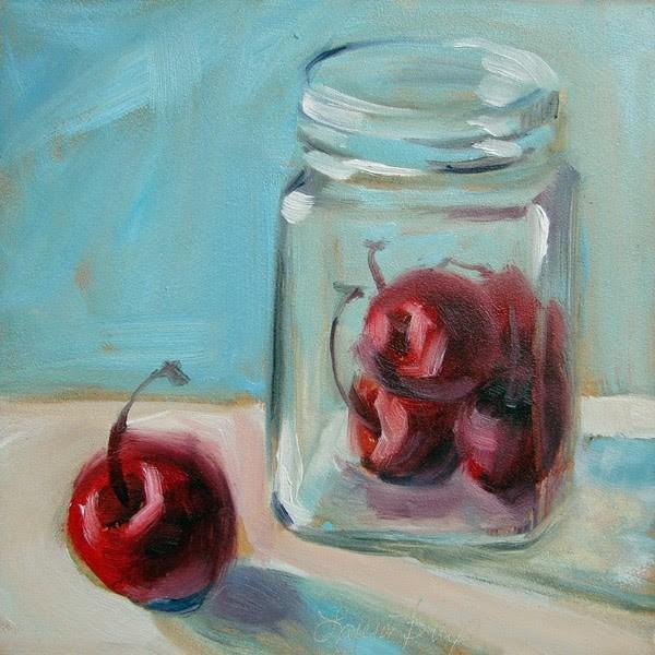 """Cherries in Glass - 313"" original fine art by Laura  Buxo"