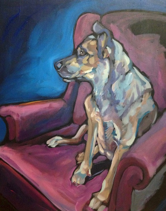 """Waiting In The Red Chair"" original fine art by Kat Corrigan"