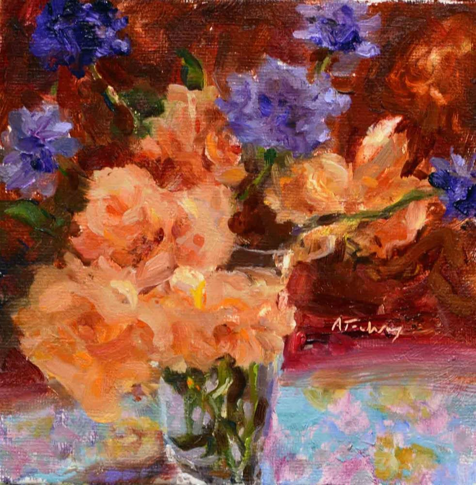 """""""Apricot Roses & Pincushions"""" original fine art by alicia tredway"""