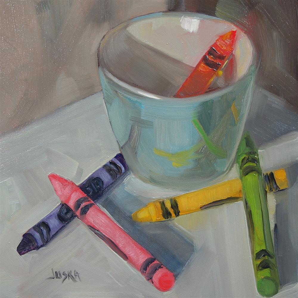 """Crayons"" original fine art by Elaine Juska Joseph"