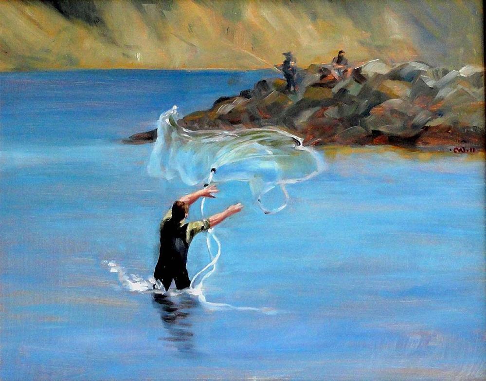 """Surf Fishing"" original fine art by Cietha Wilson"