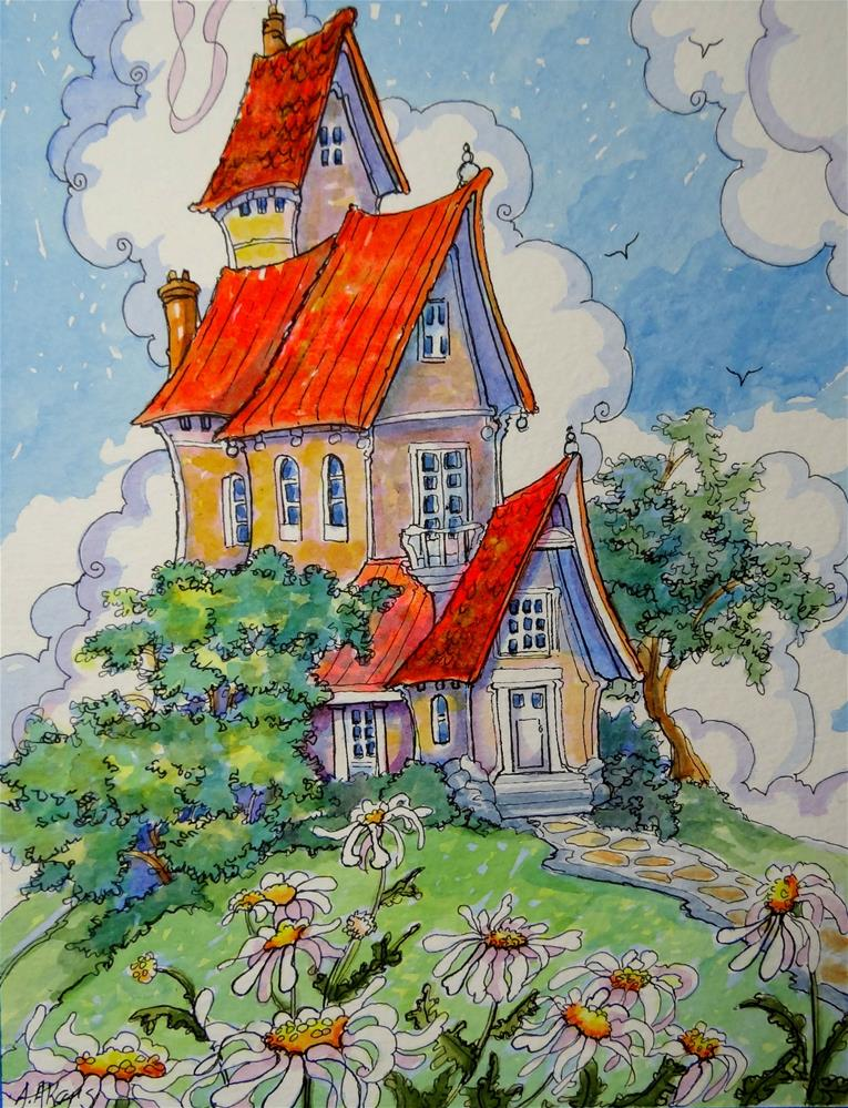 """Daisy Digs Storybook Cottage Series"" original fine art by Alida Akers"