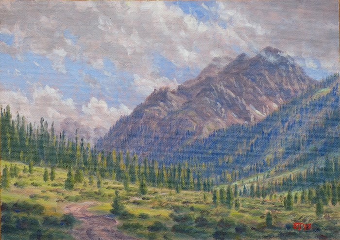 """C1631 ""Late Afternoon in the Lincoln Creek Valley"" (Truro Peak)"" original fine art by Steven Thor Johanneson"
