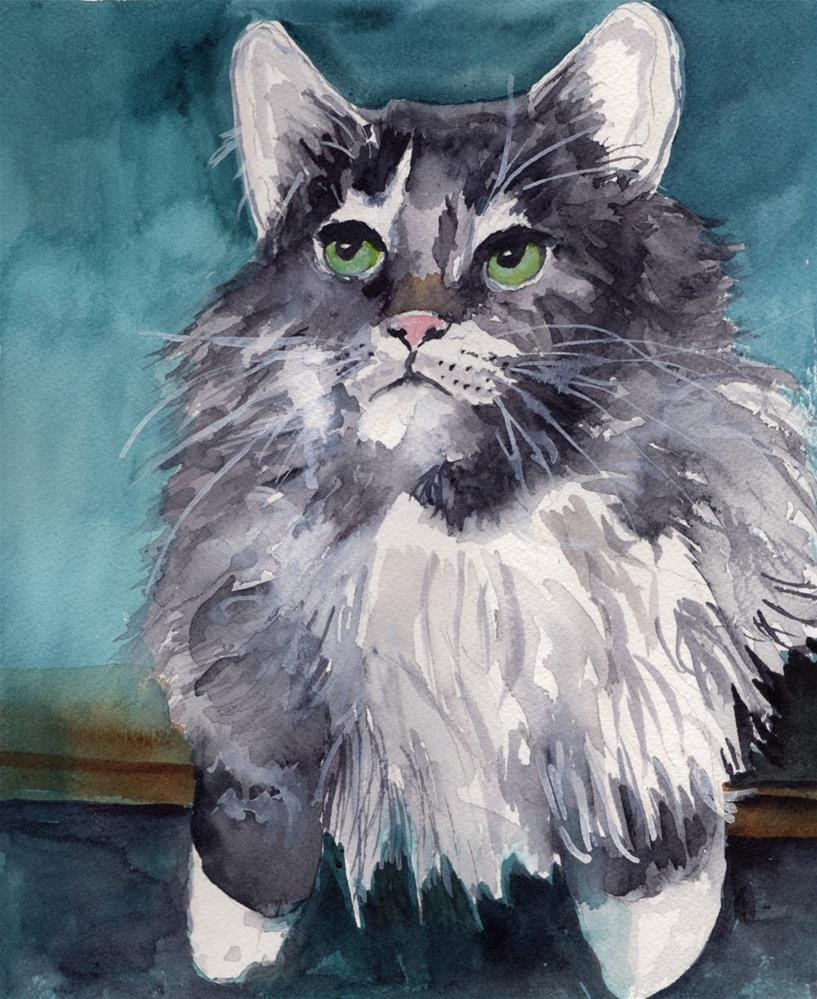 """""""Grey Long- haired Cat"""" original fine art by Bunny Griffeth"""