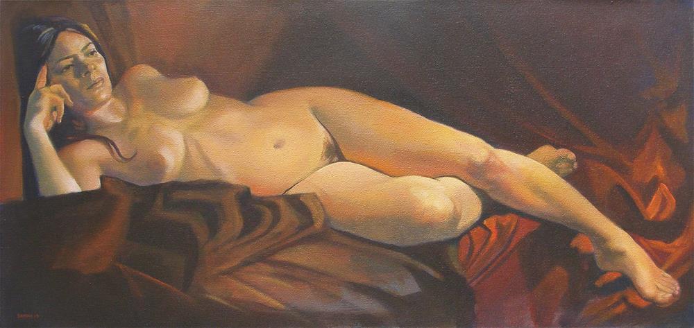 """Nude reclining"" original fine art by Peter Orrock"