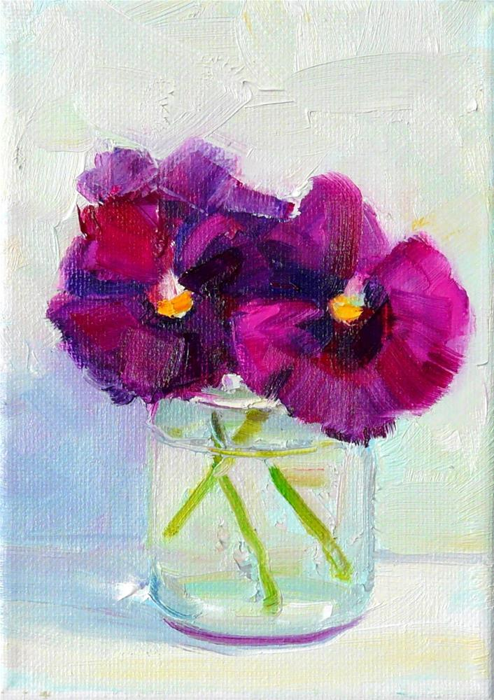 """Jar of Purple Pansies,still life,oil on canvas,7x5,price$150"" original fine art by Joy Olney"