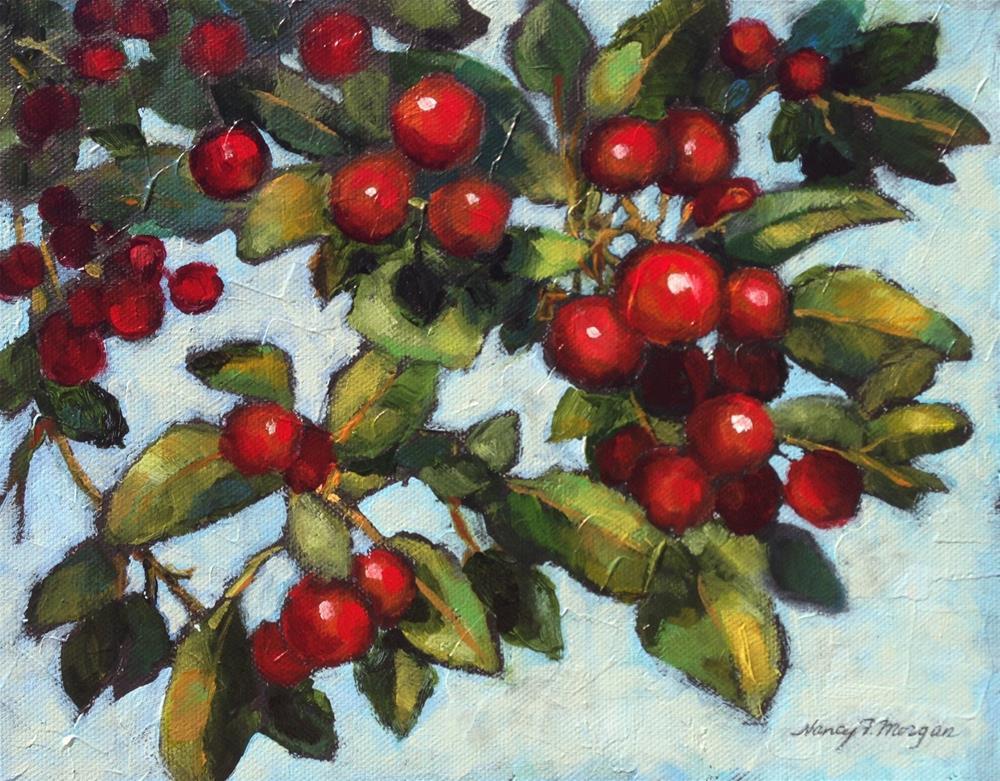 """""""Crabapples"""" original fine art by Nancy F. Morgan"""