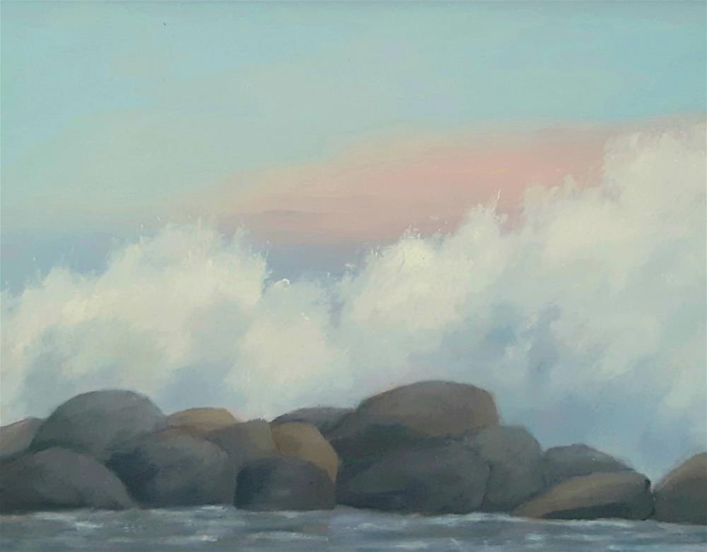 """""""Breaker Rocks Evening"""" original fine art by Karen Johnston"""