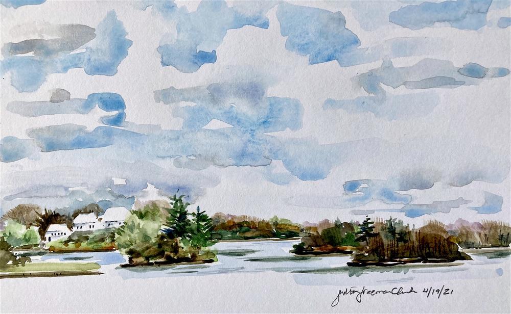 """Lake Quinsigamond, sketch #1"" original fine art by Judith Freeman Clark"