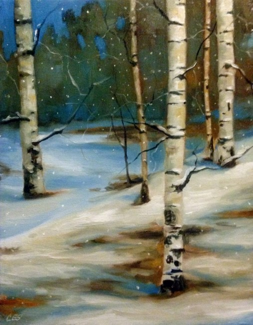 """Snowy Night Birch"" original fine art by Christine E. S. Code"