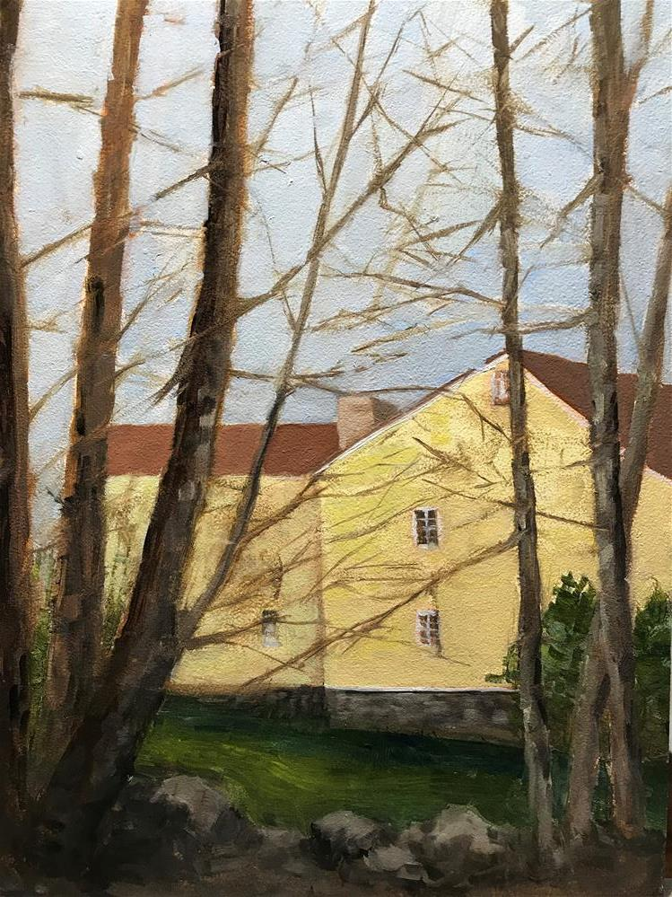"""Yellow house through the trees"" original fine art by Betty Argiros"