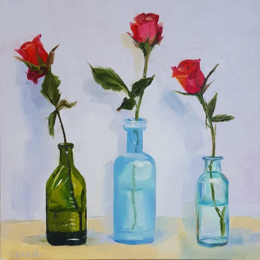"""""""Three Odd Bottle Buddies"""" original fine art by Jacqueline Davis"""