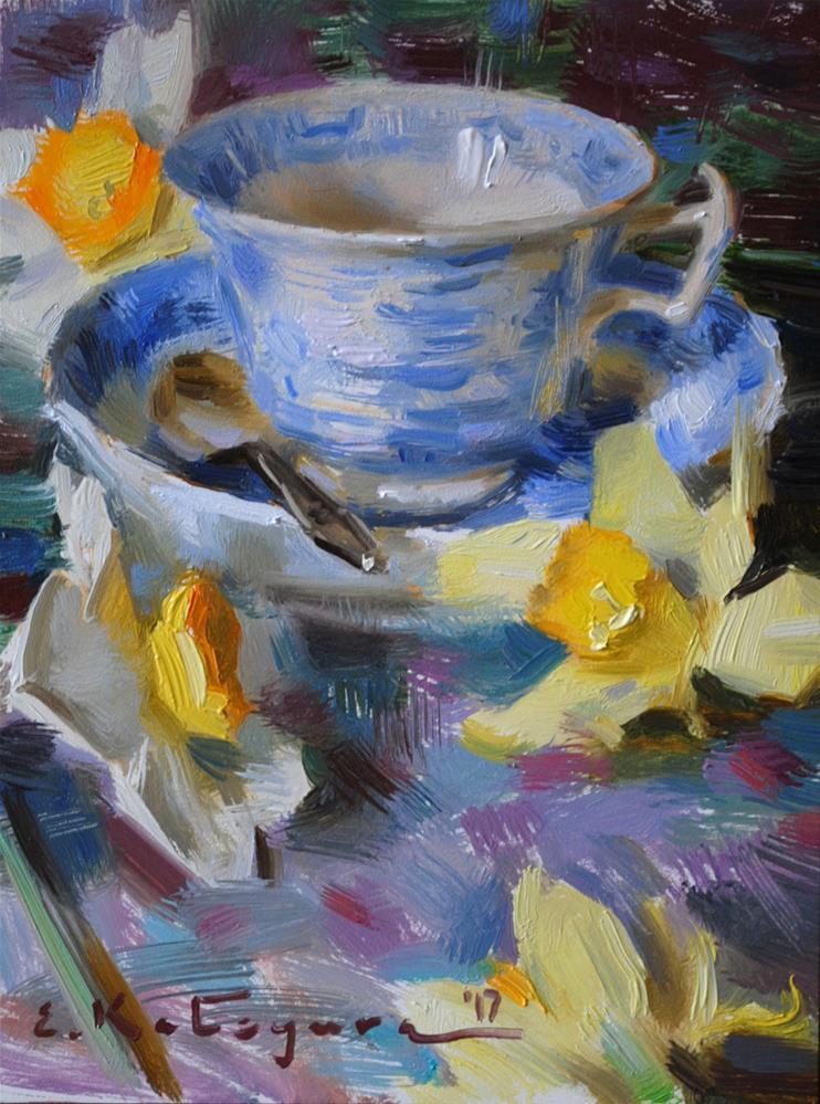 """Vintage China and Daffodils"" original fine art by Elena Katsyura"