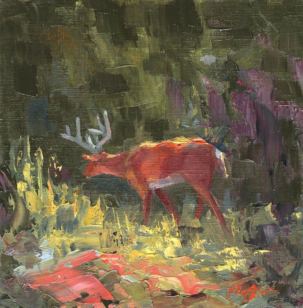 """Backyard Buck"" original fine art by B. Rex Stewart"