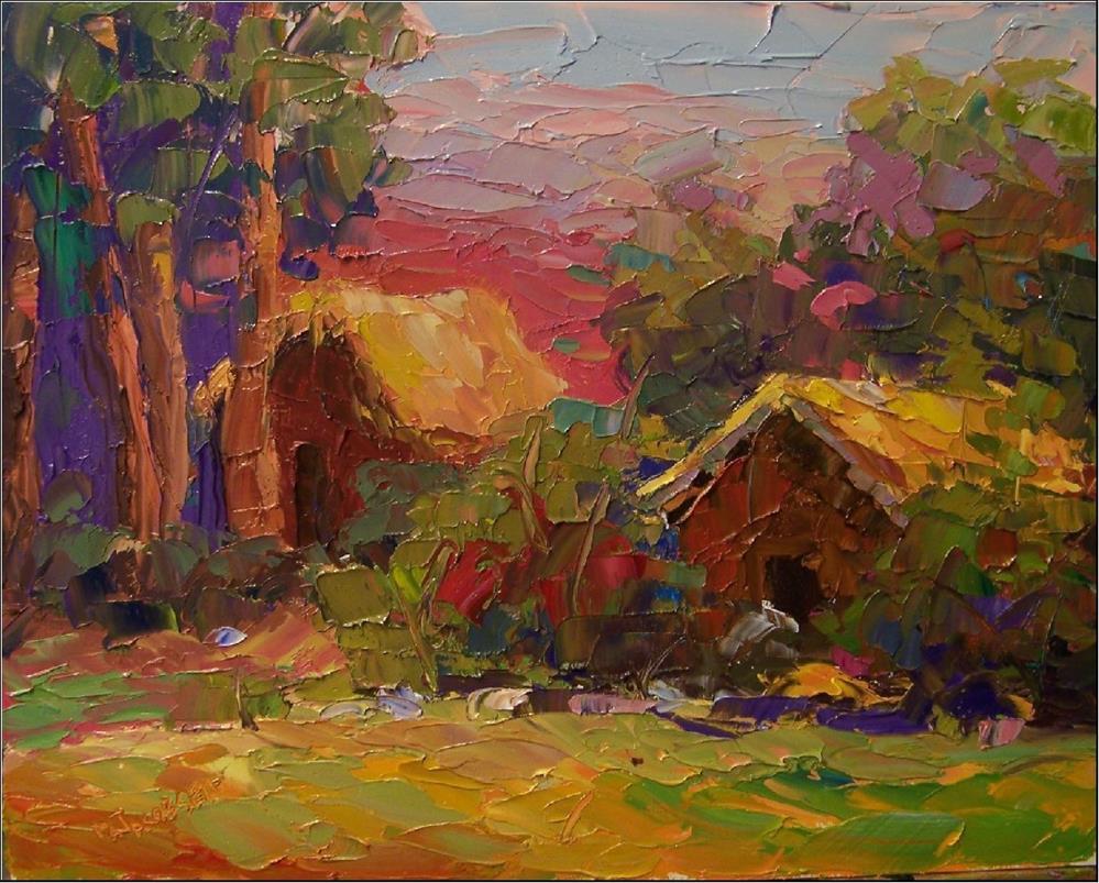 """Green Mansions, 11x14, oil on board-palette knife, impressionism"" original fine art by Maryanne Jacobsen"